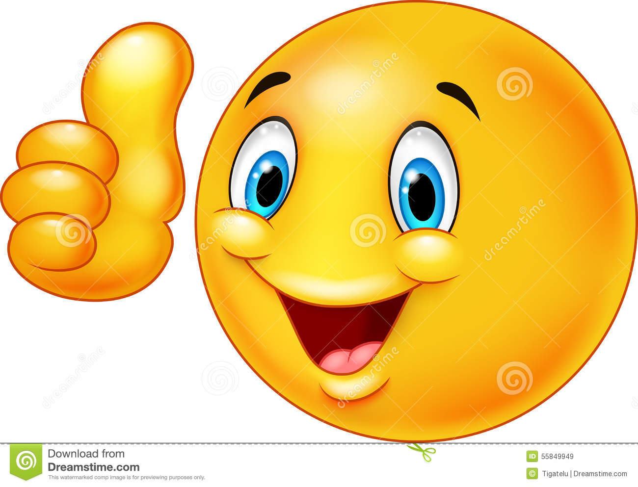 Happy Smiley Emoticon Cartoon Giving Thumbs Up Stock Illustration ...