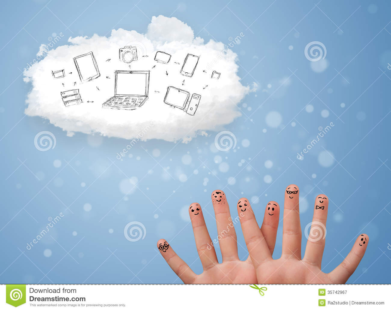 Happy Smiley Fingers Looking At Cloud Computing With