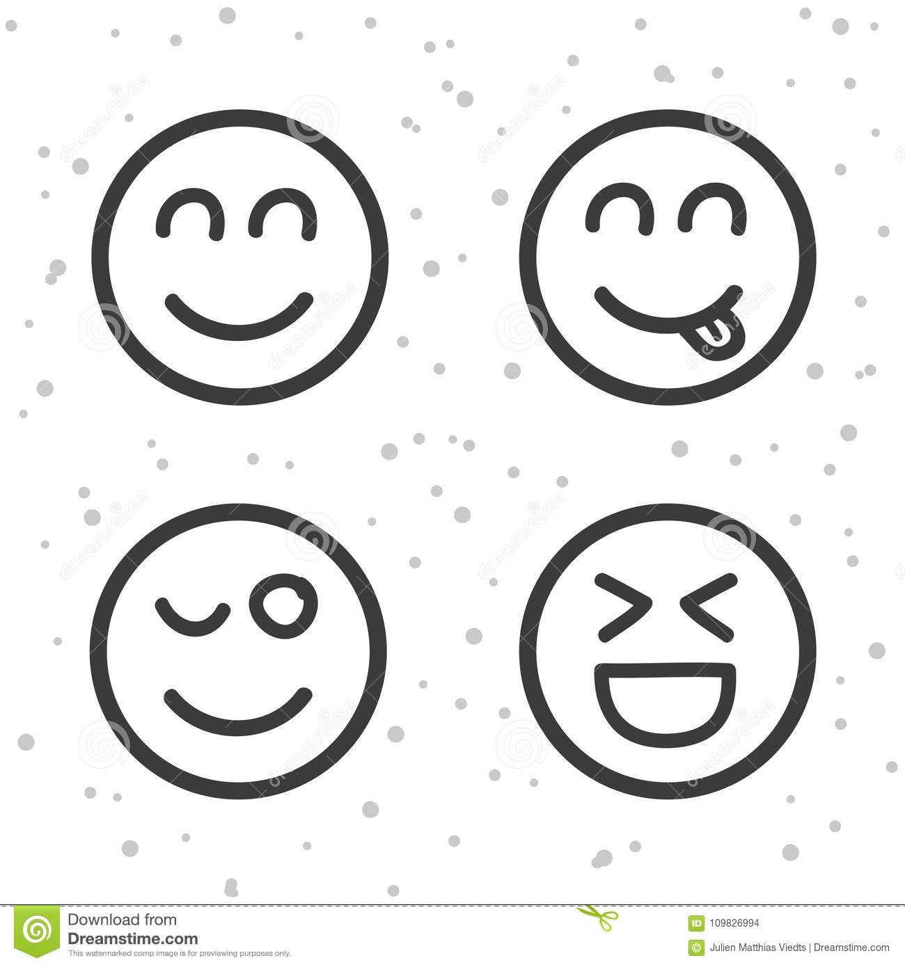 Happy Smiley Icons Laughing Emoticons Symbols Stock Vector