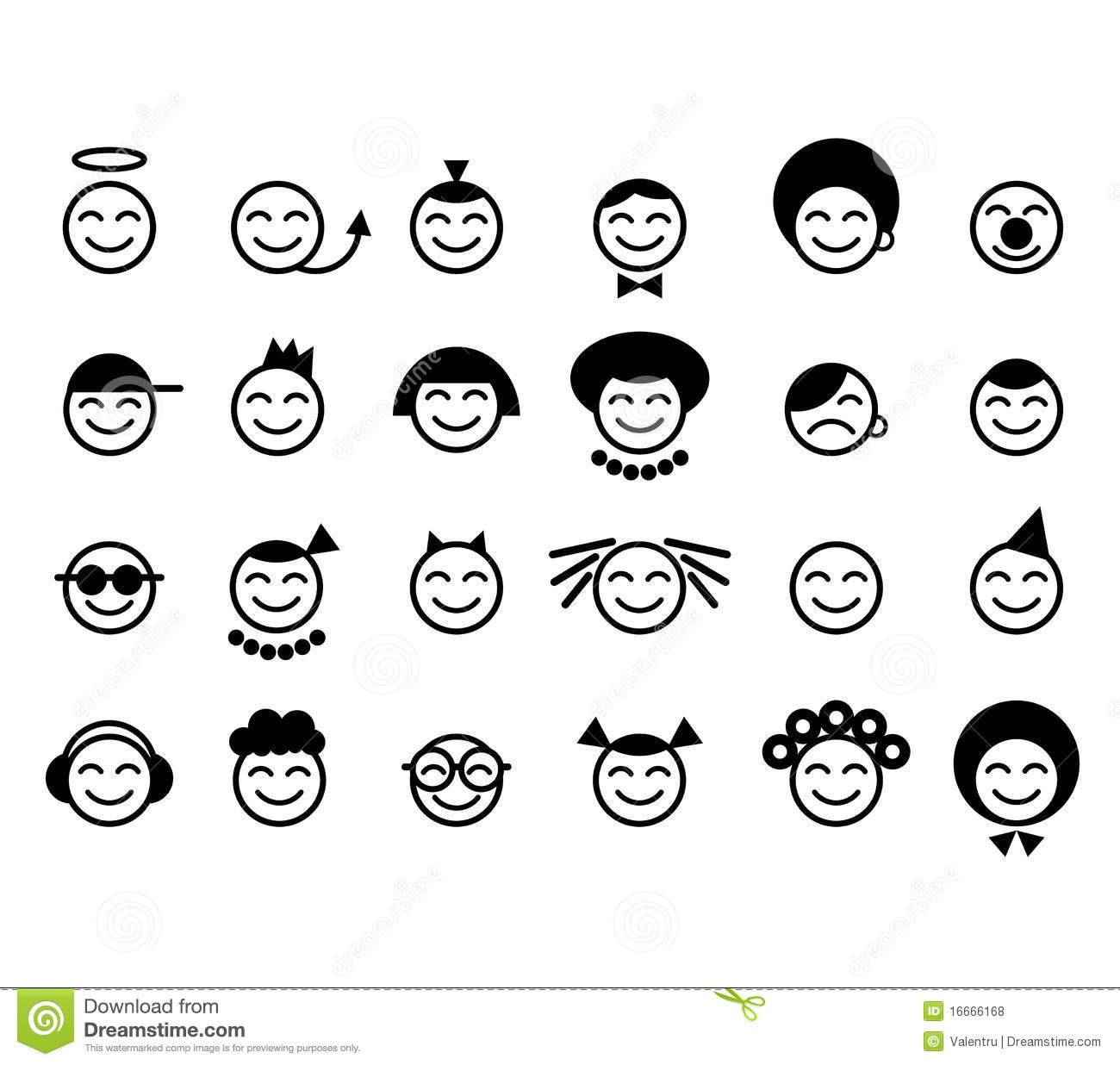 Happy smileys face royalty free stock photos image 16666168 - Smiley noir et blanc ...