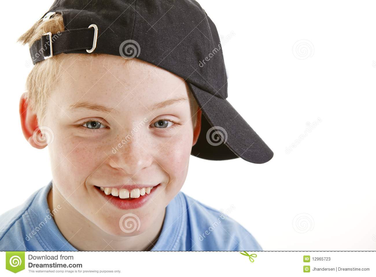 Happy Smiling 12 Year Old Boy With A Cap Isolated Stock Image