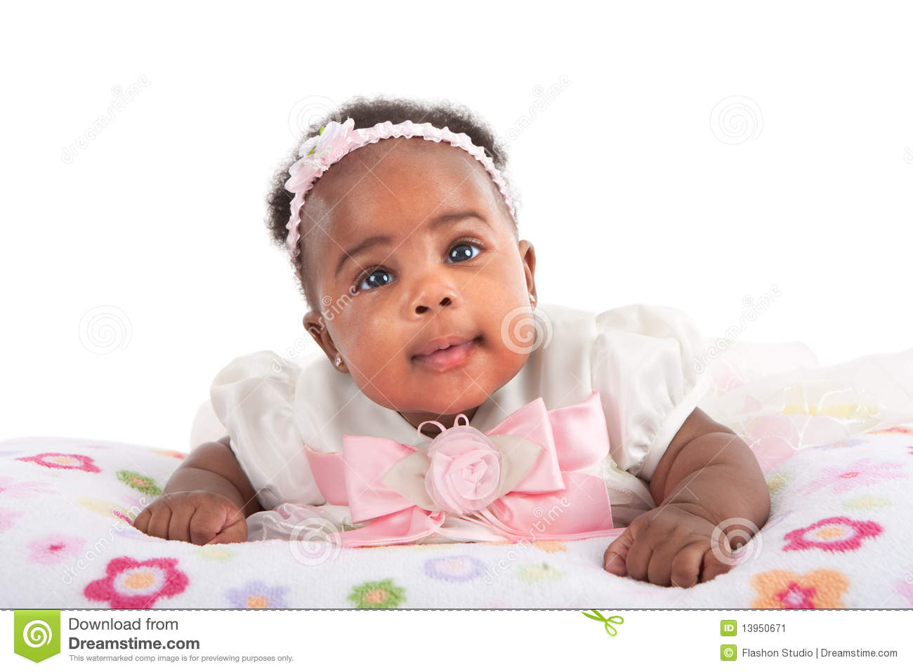 Happy Smiling 3 Month Old Baby Girl Portrait Stock Image