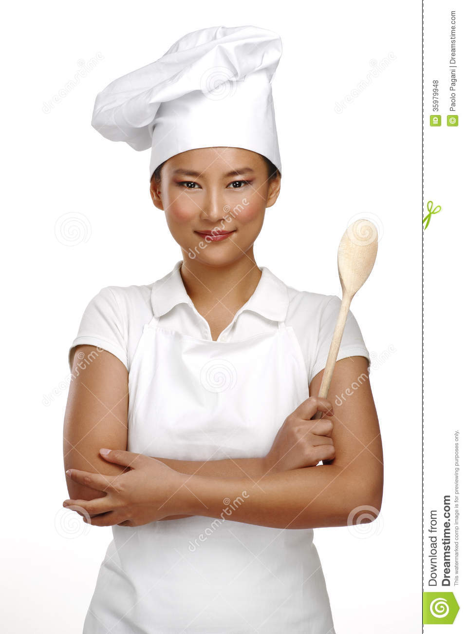 happy smiling asian chinese woman chef at work stock photo