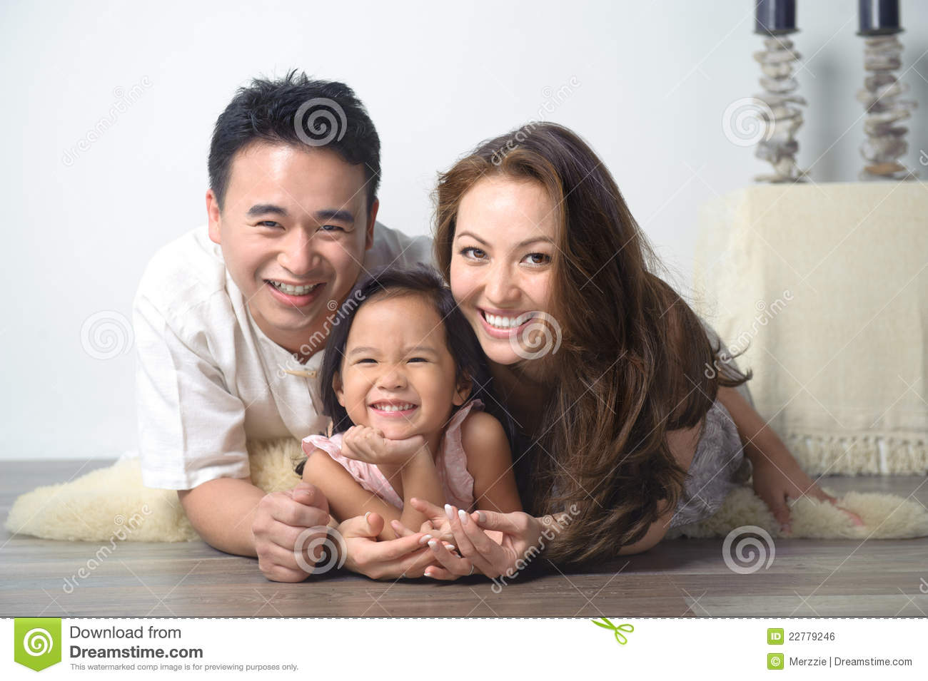 Happy Smiling Asian Family