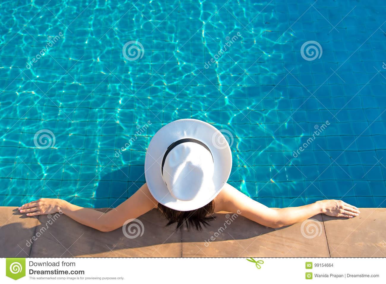 Download Happy Smiling Asian Woman With Straw Hat Relax And Luxury In Swimming Pool At Resort Hotel, Lifestyle And Happy Day Stock Photo - Image of leisure, blue: 99154664