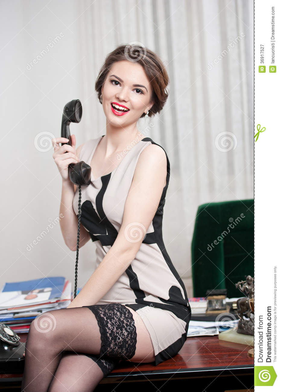 Happy Smiling Attractive Woman Wearing An Elegant Dress And Black Stockings Talking By -5167