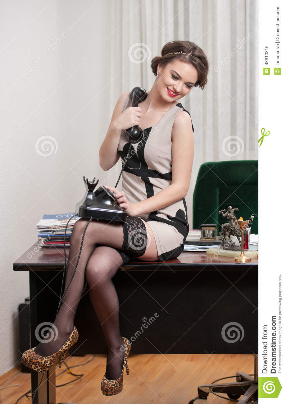 Happy Smiling Attractive Woman Wearing An Elegant Dress And Black Stockings Talking By -9938