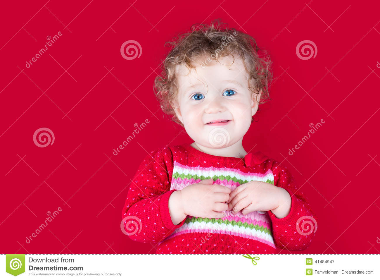 60a7035e6 Happy Smiling Baby Girl In A Red Christmas Jacket Stock Image ...