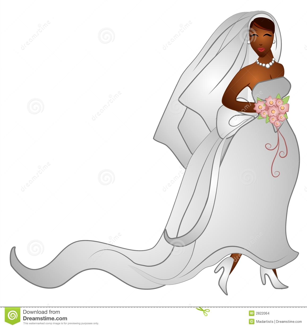 clip art illustration of a beautiful african american bride in her ...