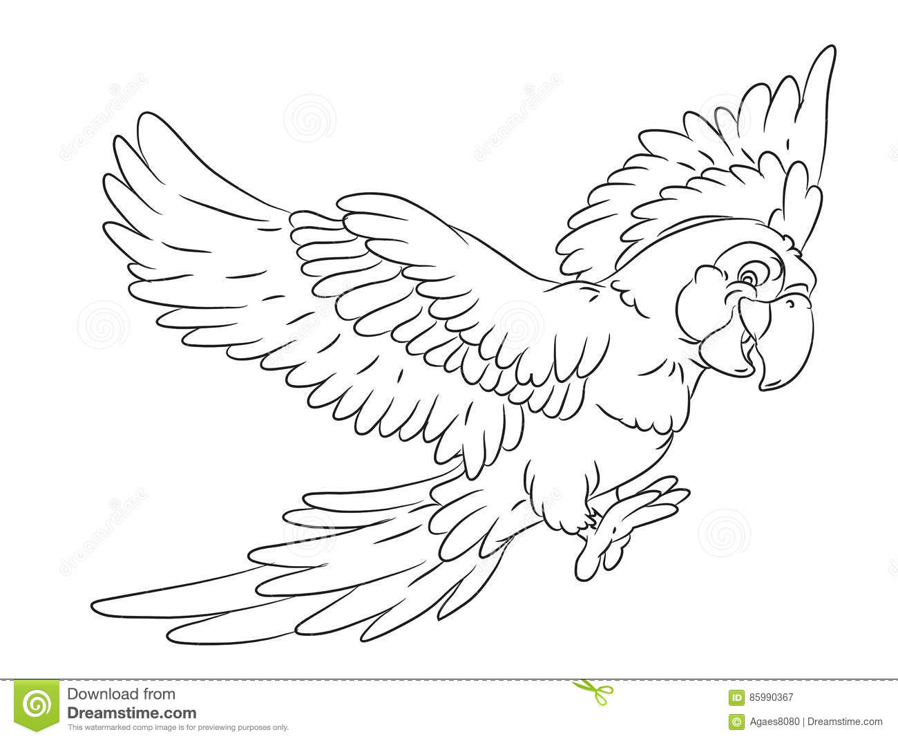 Happy Smiling Cartoon Flying Parrot Coloring Page Stock Illustration