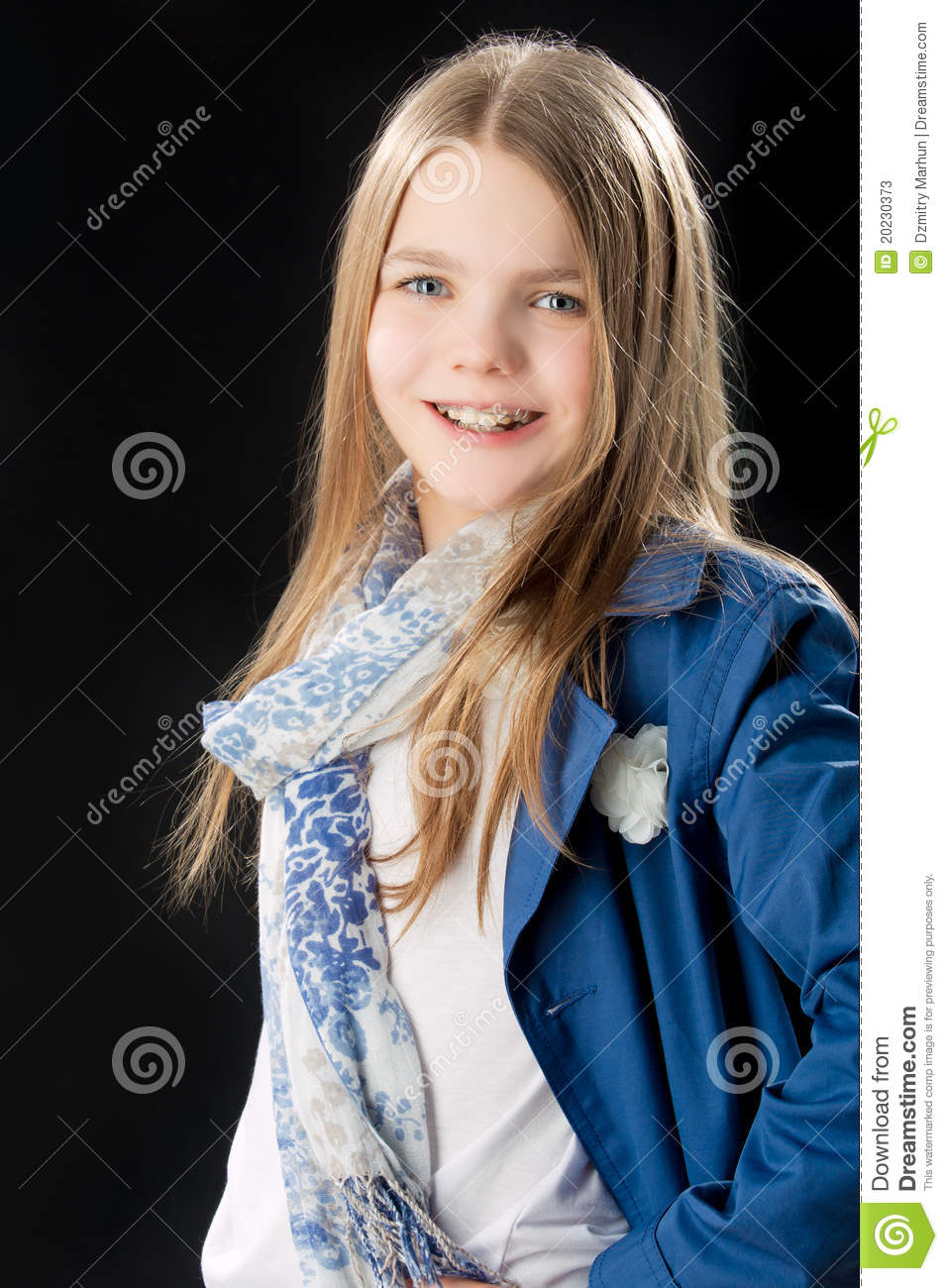 Video Girl Dress: Happy Smiling Caucasian Little Girl With Braces Stock