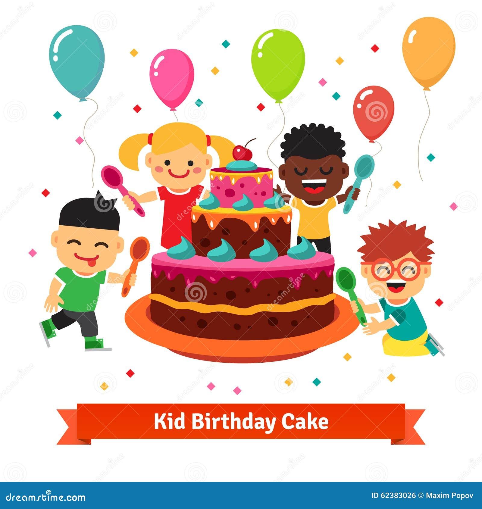 Happy Smiling Celebrating Kids With Birthday Cake Stock