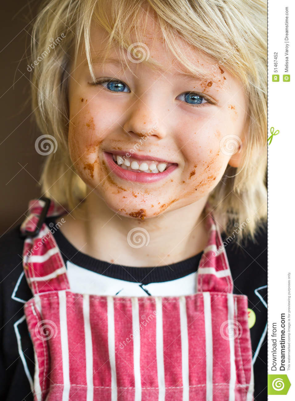 Happy, Smiling Child With Messy Chocolate Face Stock Photo - Image ...