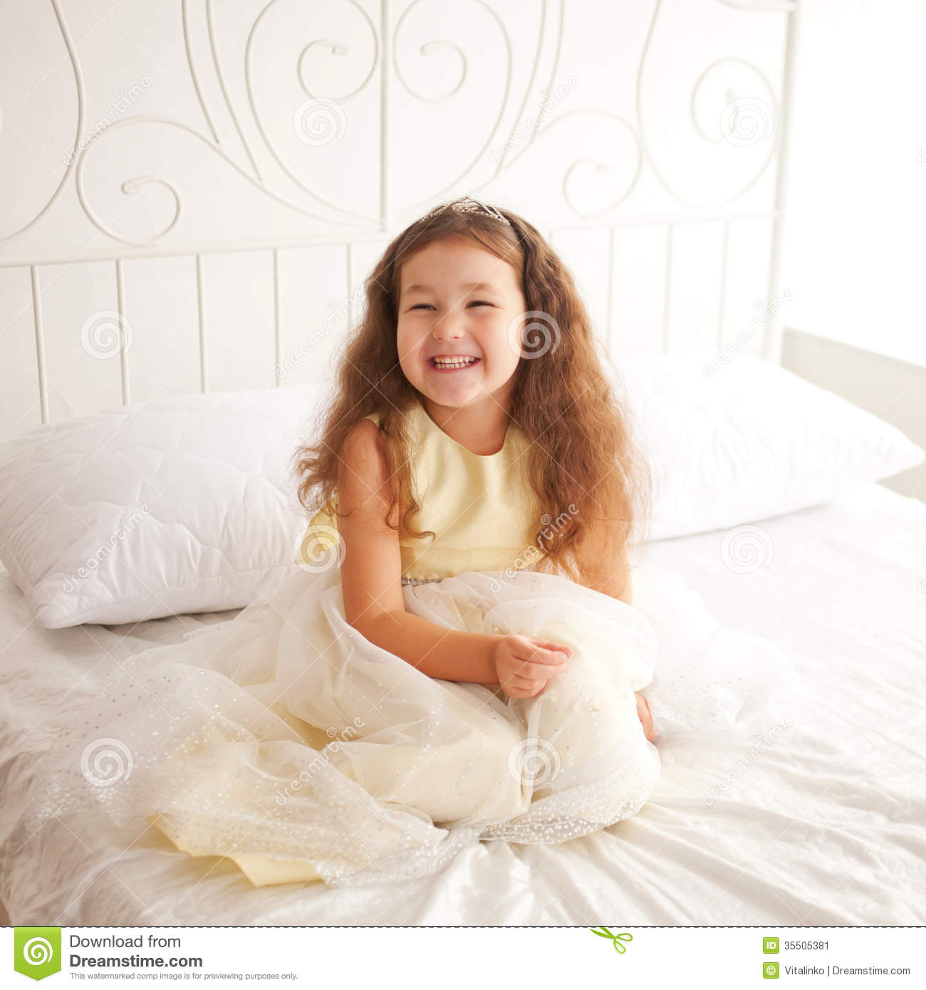 Happy Smiling Child Waking Up In The Morning Stock Image