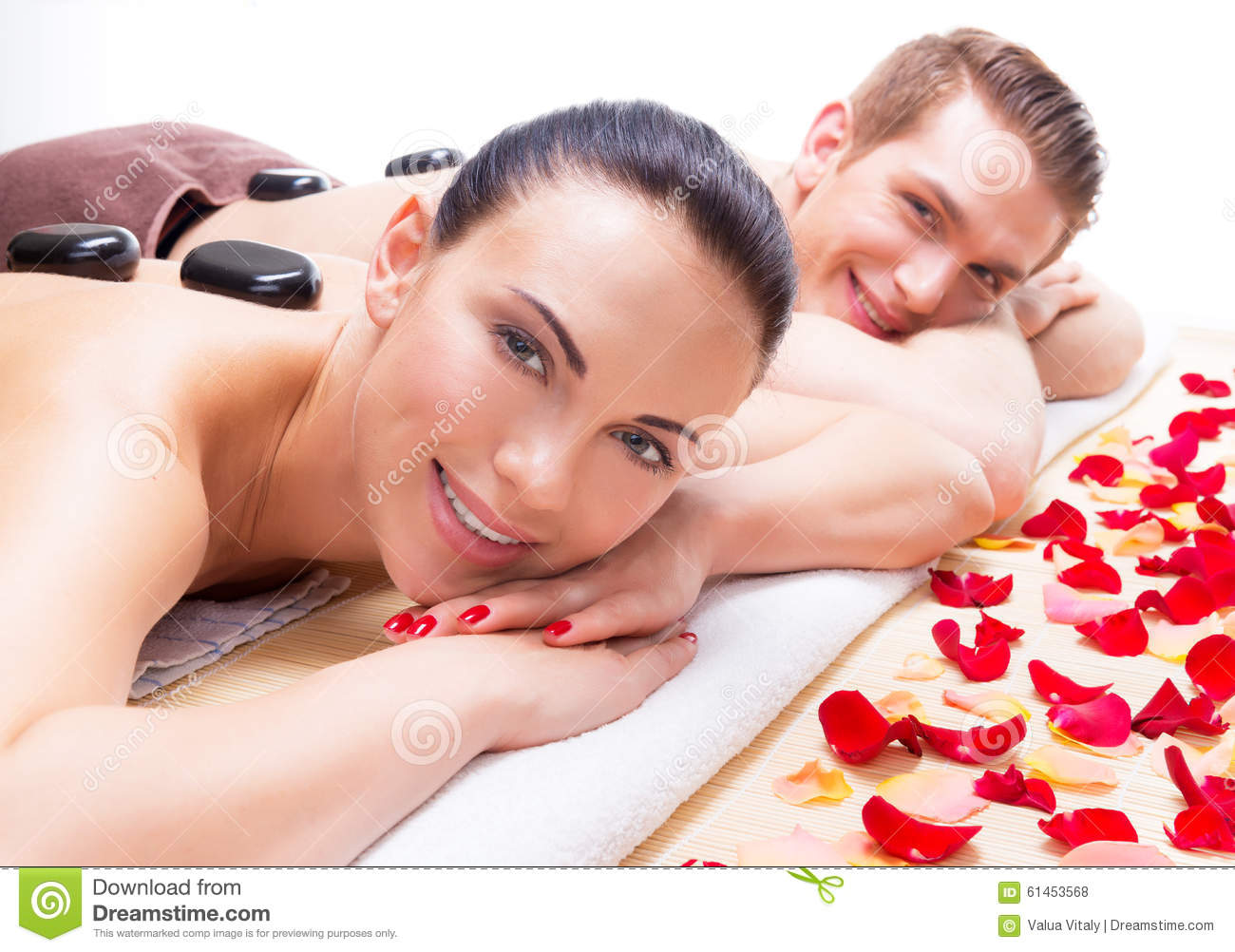 happy smiling couple relaxing in spa salon stock photo. Black Bedroom Furniture Sets. Home Design Ideas