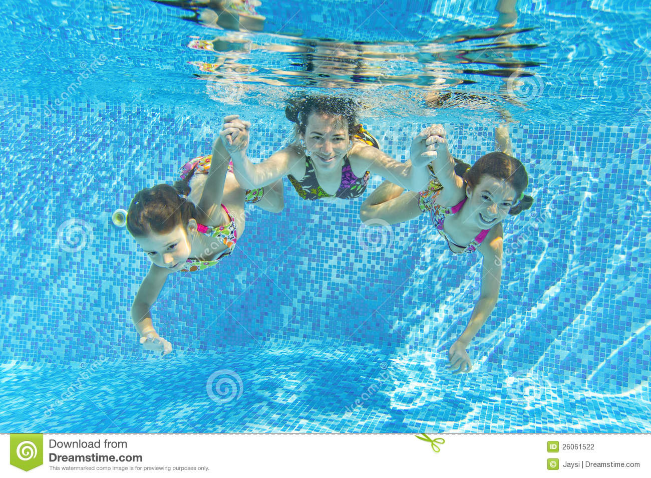 Happy Smiling Family Underwater In Swimming Pool Stock
