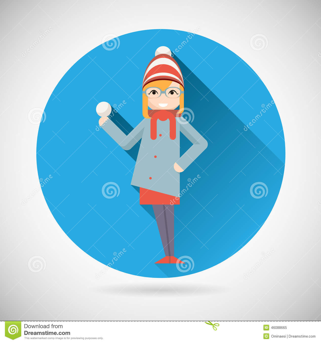 Happy Smiling Geek Hipster Girl Character with
