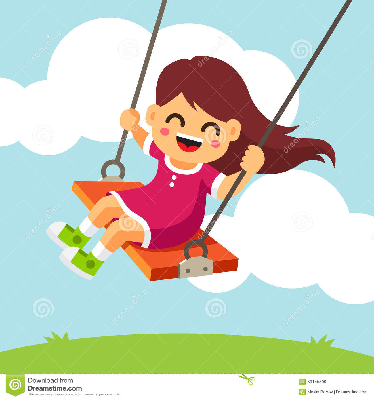 happy smiling girl kid swinging on a swing stock vector tooth fairy clipart images png free tooth fairy clip art images