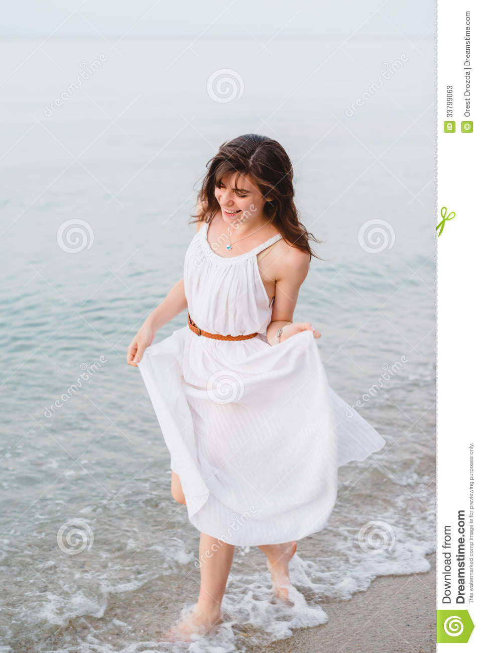 122d6470f3fc A Happy Smiling Girl In Running On The Sea Shore Stock Image - Image ...