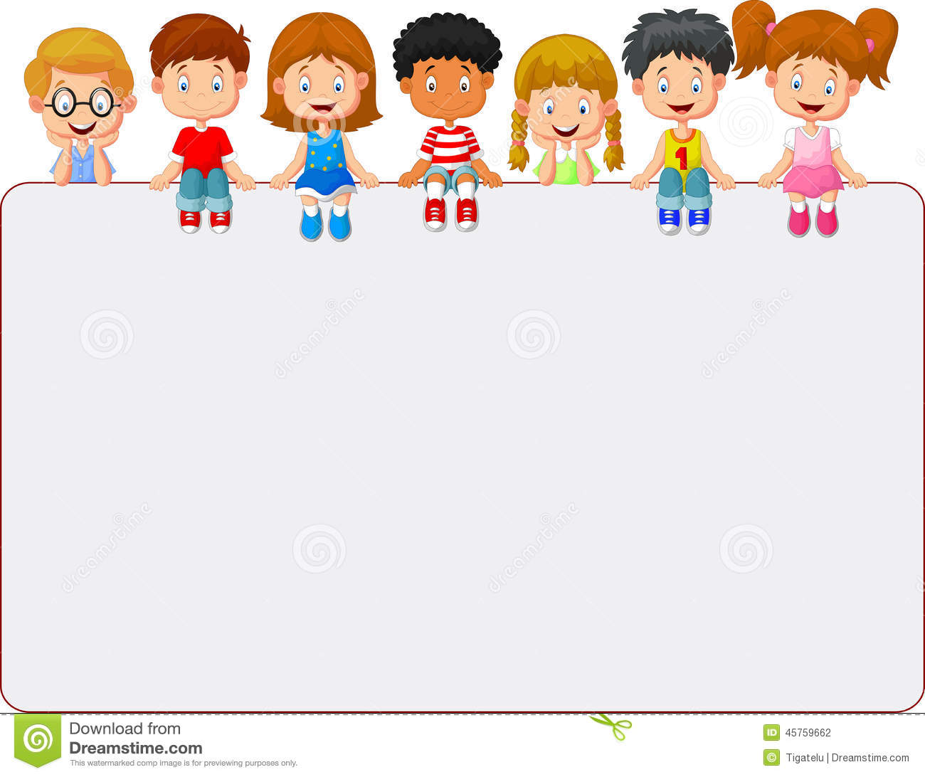 Happy Smiling Group Of Kids Cartoon Showing Blank Placard
