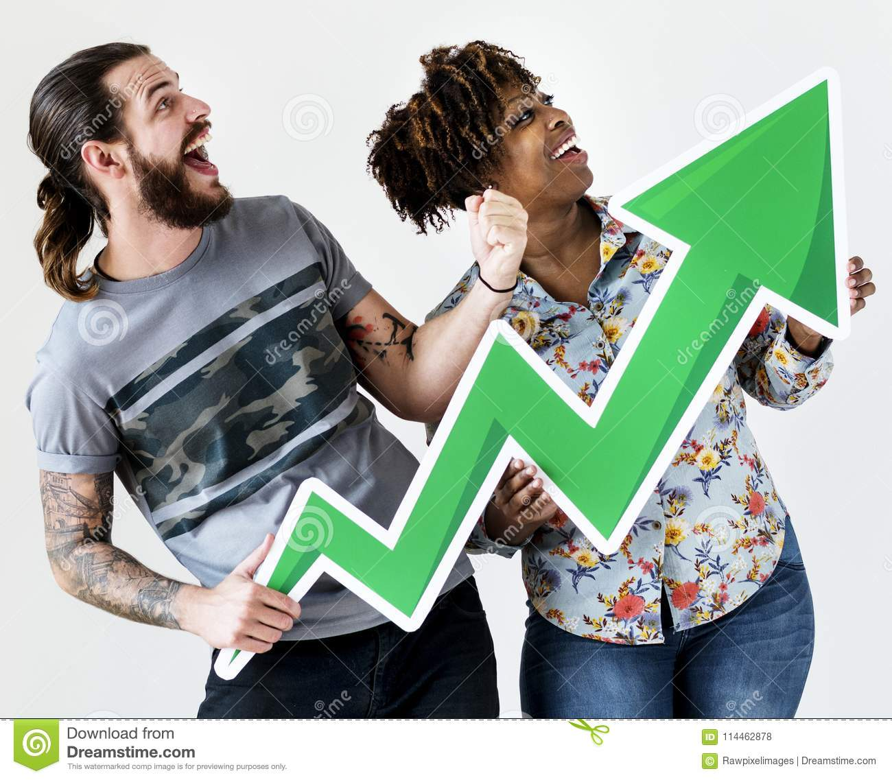 Happy smiling interracial couple holding a growth arrow