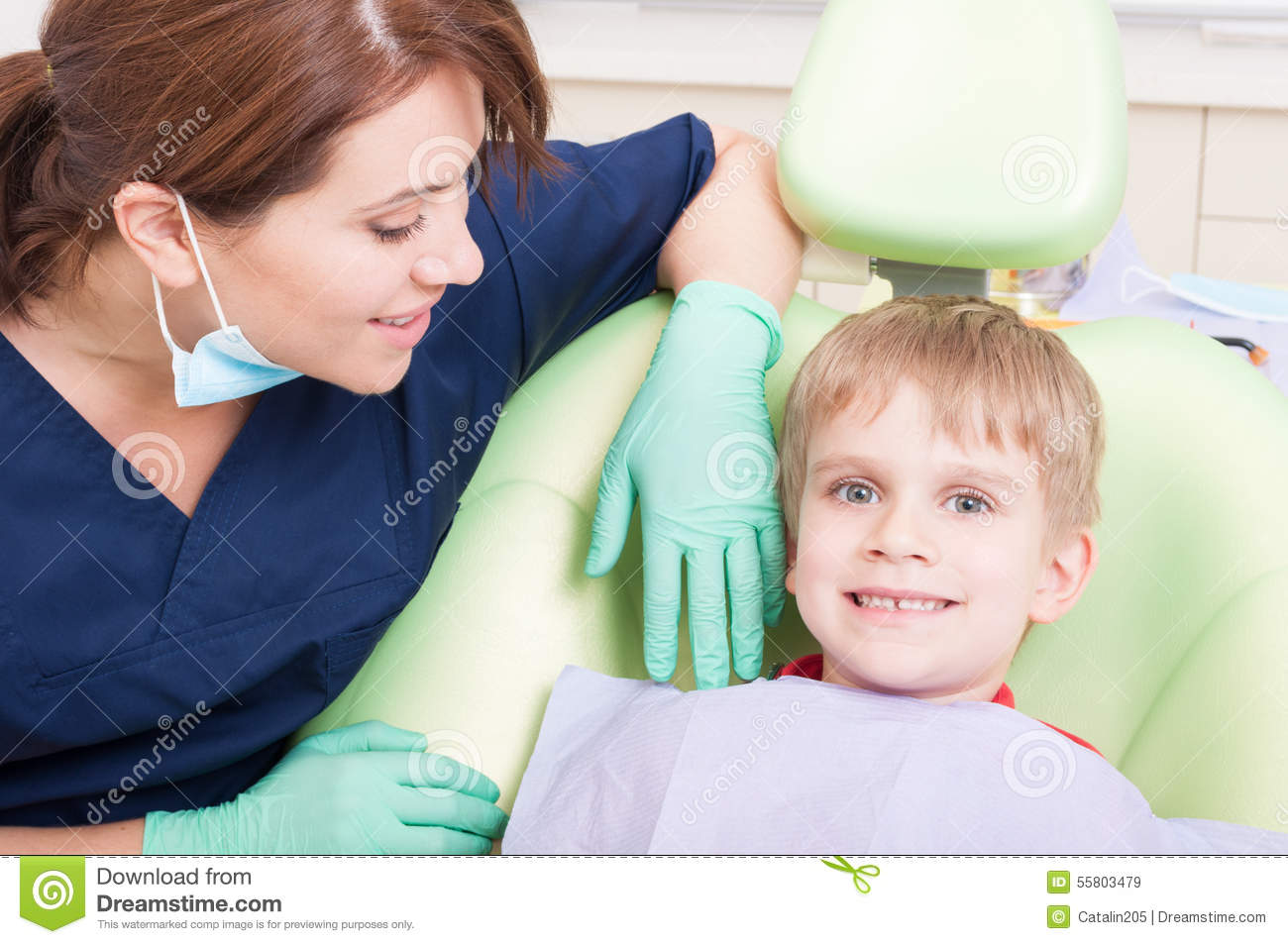 Incredible Happy And Smiling Kid At Dentist With No Fear Stock Image Andrewgaddart Wooden Chair Designs For Living Room Andrewgaddartcom