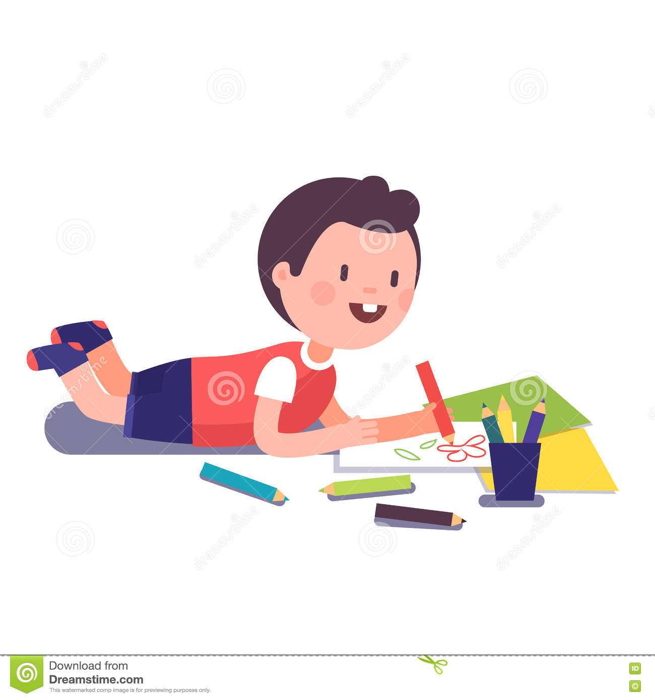 Happy Smiling Kid Painting And Coloring Stock Vector
