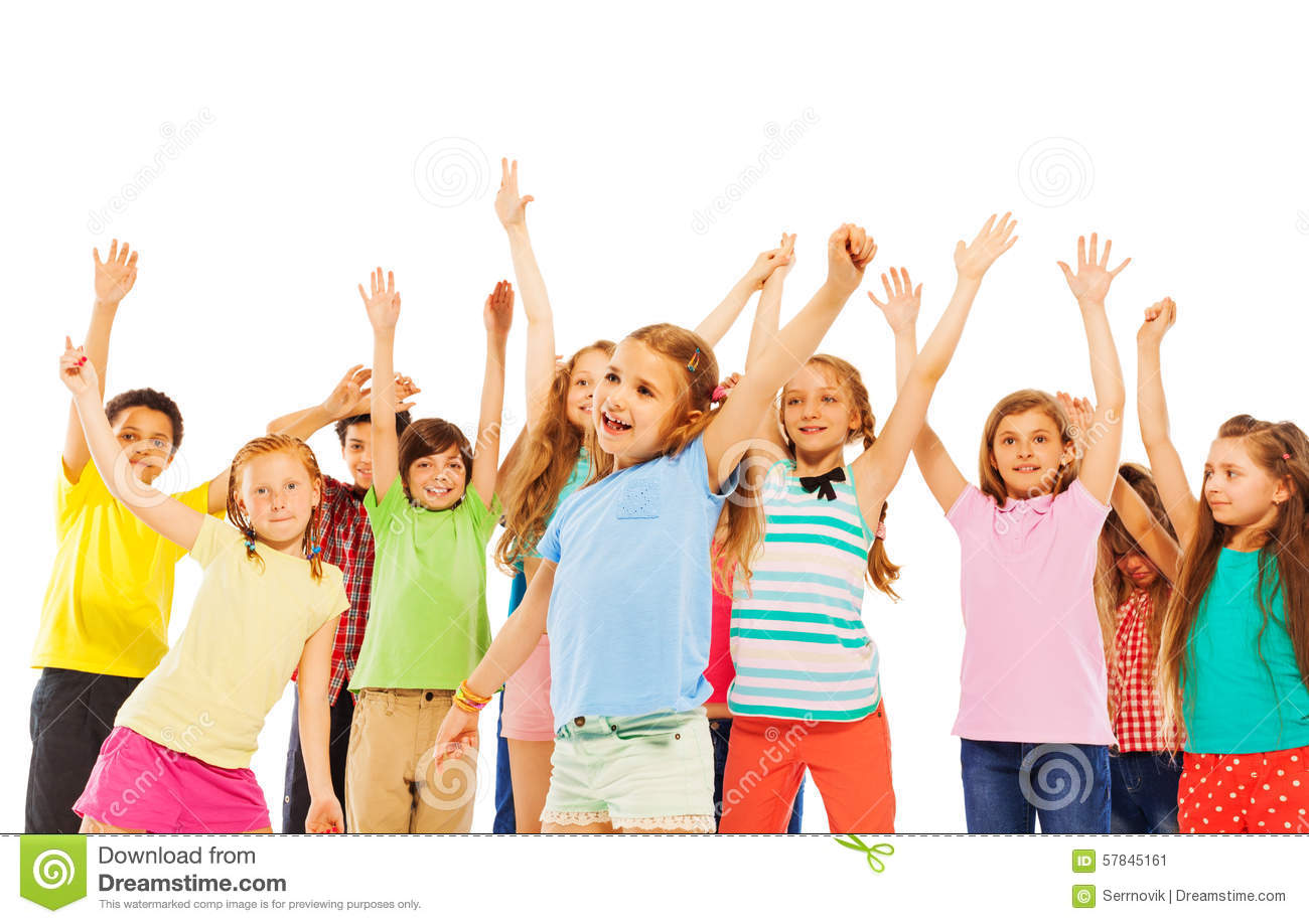 Happy Smiling Kids Rise Hands And Cheer Stock Image ...