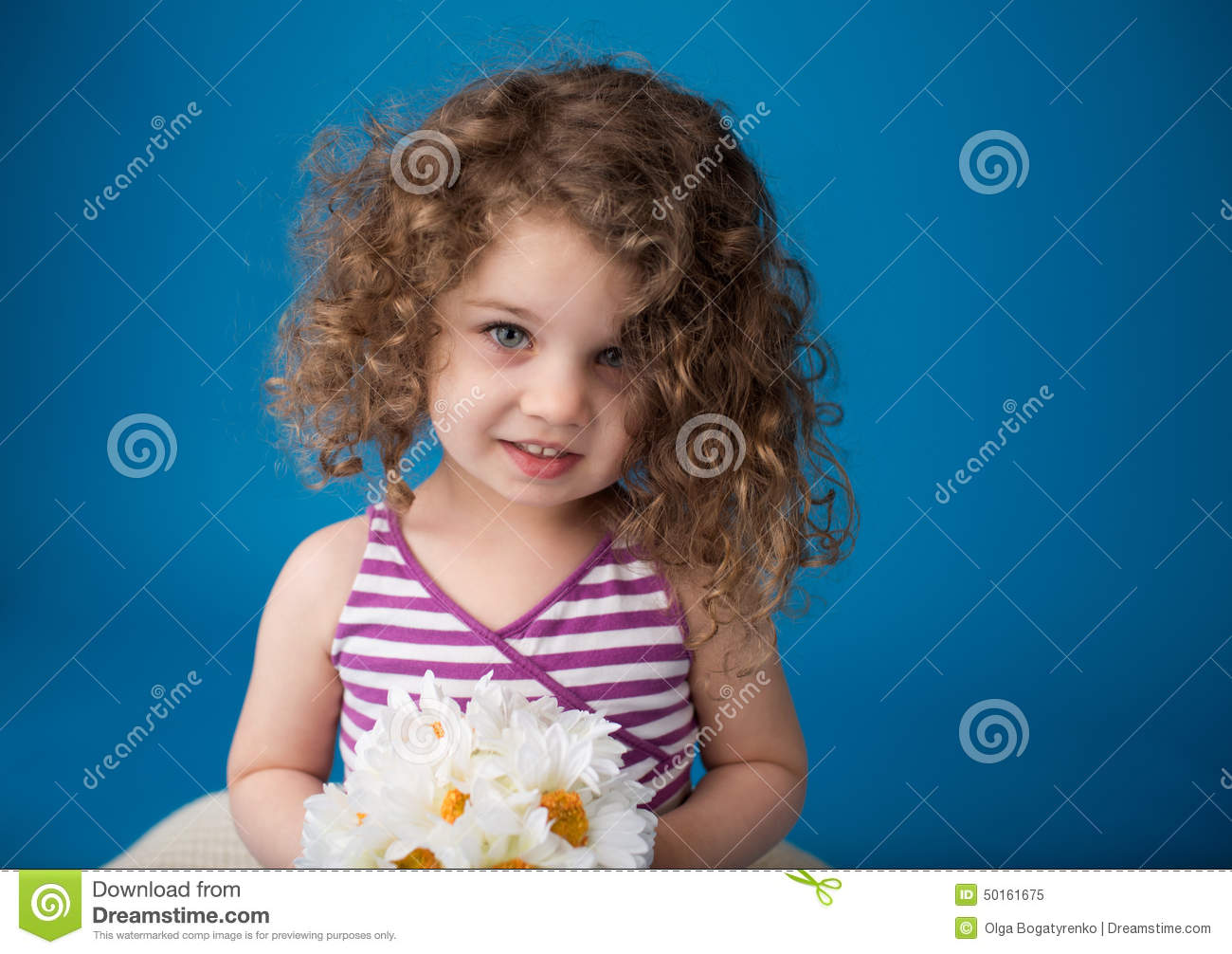 Happy Smiling Laughing Child Girl With Curly Hair Stock Image