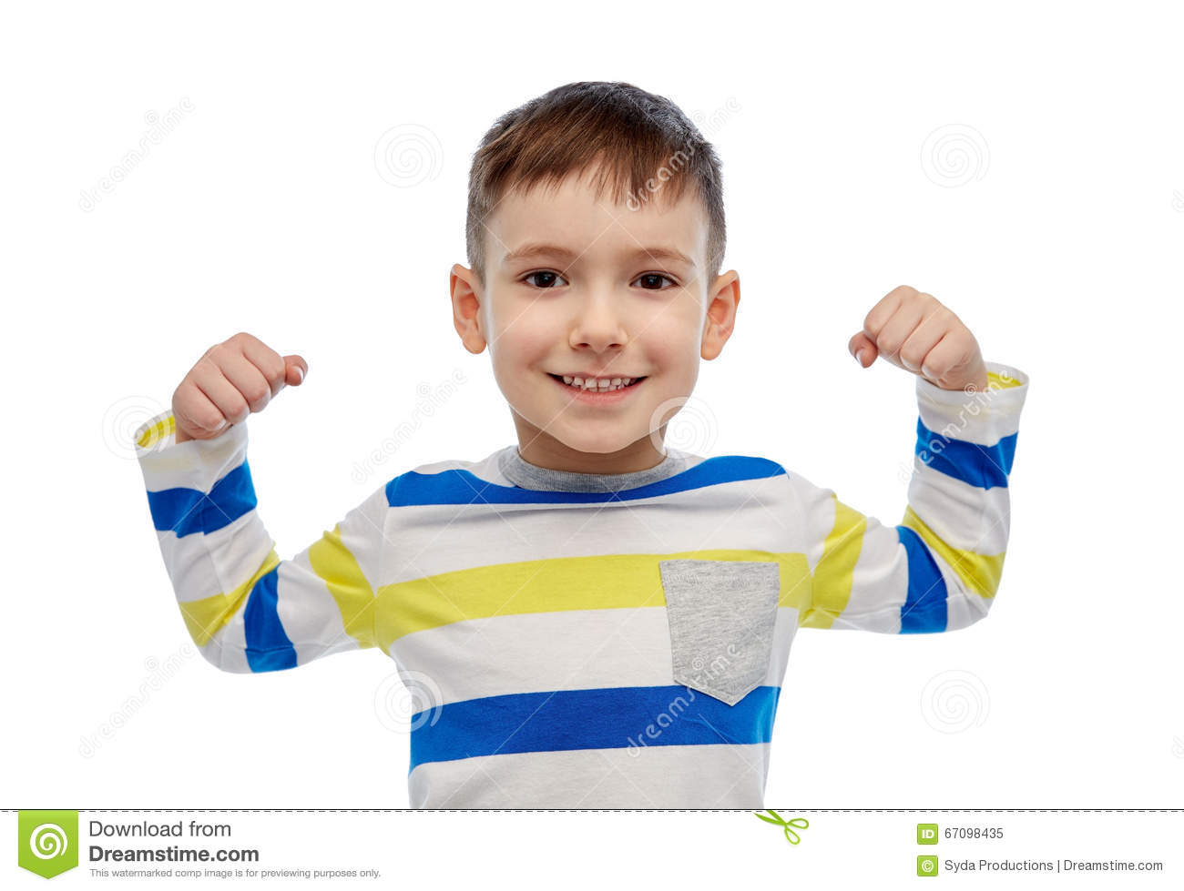 c60a716e5d770 Childhood, power, gesture and people concept - happy smiling little boy  with raised hand