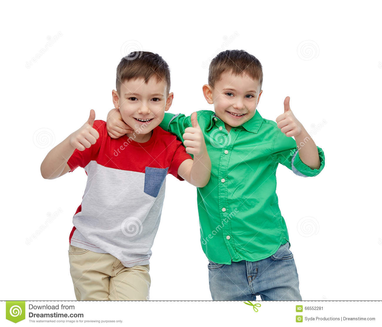 Happy smiling little boys showing thumbs up