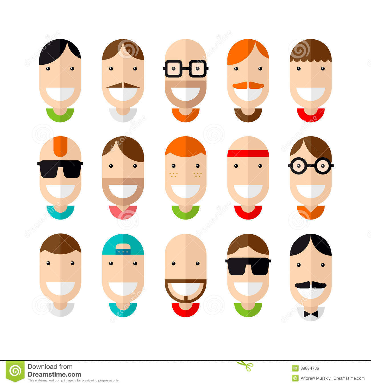 Cartoon Character Design Vector : Happy smiling male faces set stock vector illustration