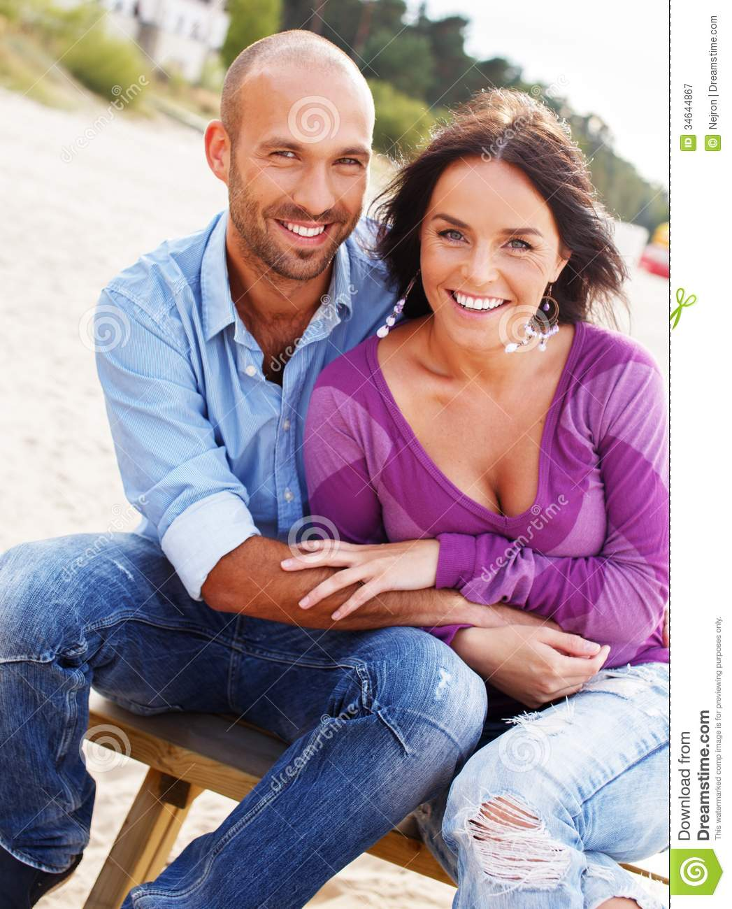 Couple At The Beach Stock Image Image Of Caucasian: Happy Smiling Middle-aged Couple Stock Image