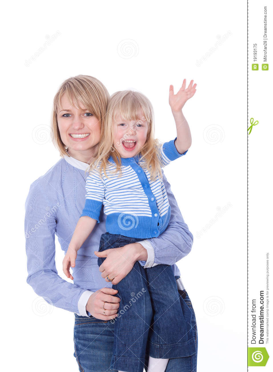 Happy Smiling Mom And Child Waving Hello Royalty Free ...