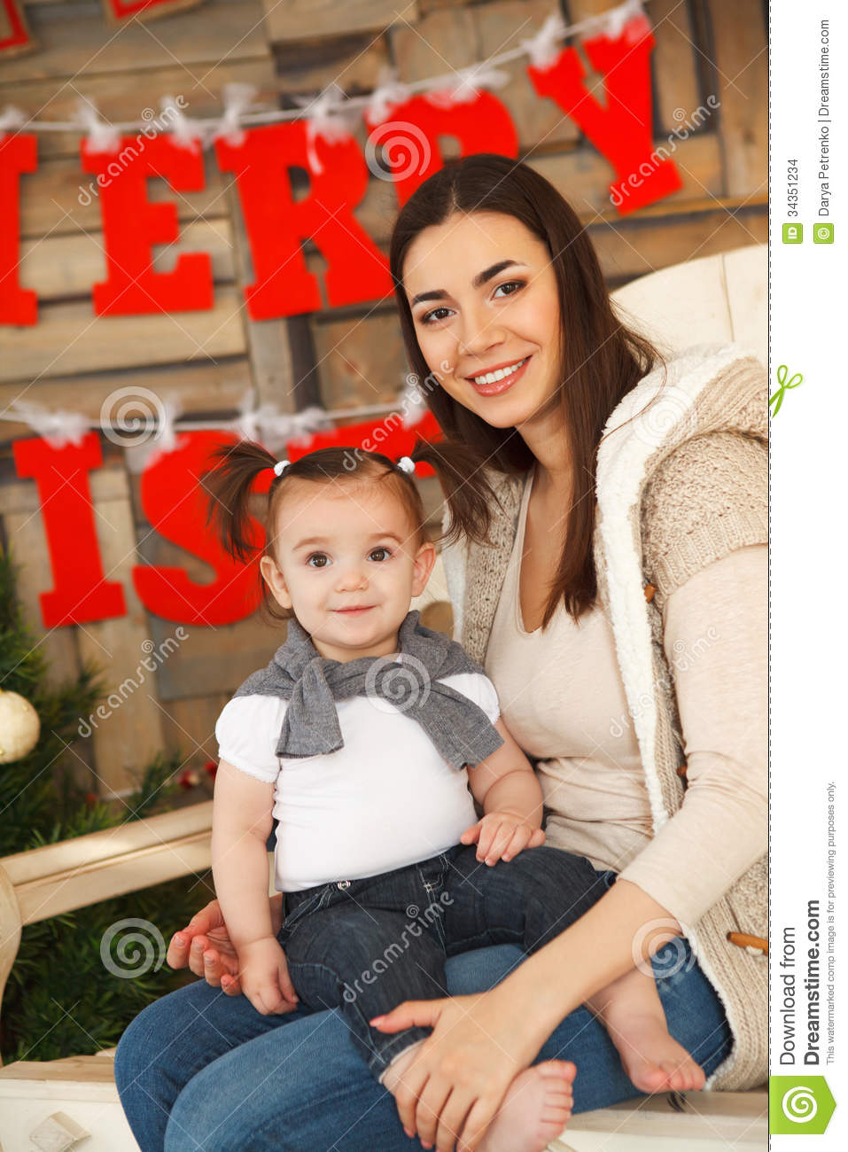 Happy Smiling Mother With Daughter Christmas Time Stock Images Image 34351234