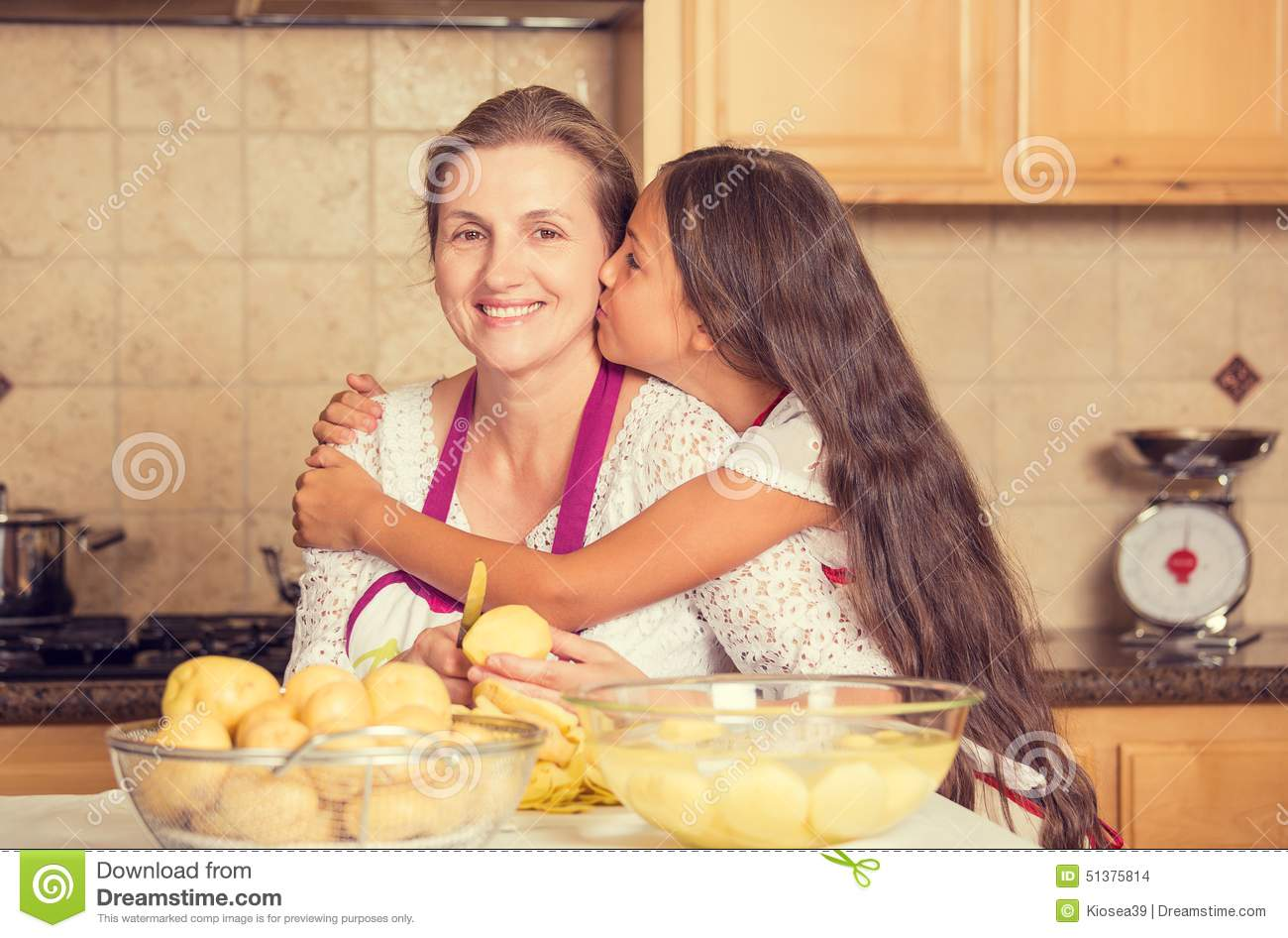 Daughter Cooking With Mam Cartoon Vector 90425937