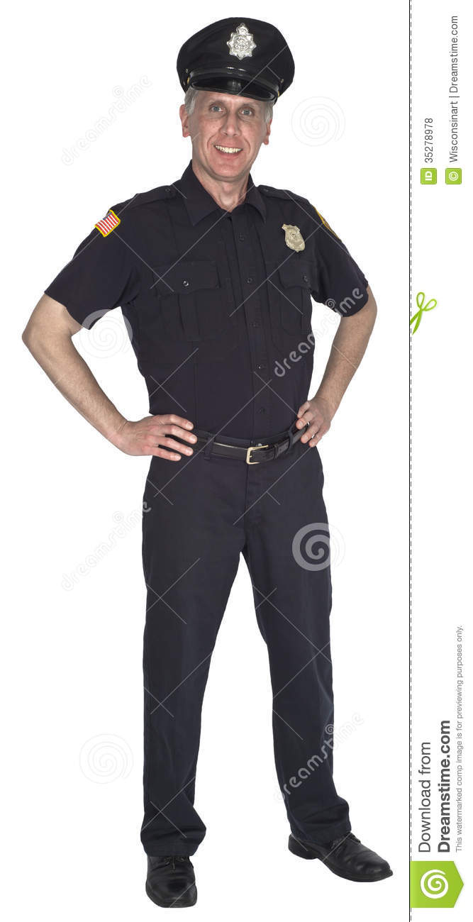 Happy Smiling Police Officer Cop Or Policeman Isolated Royalty Free ...