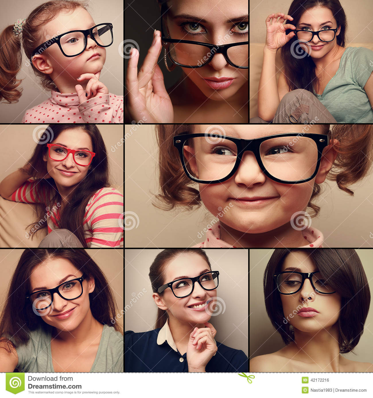 Happy smiling portrait collage collection from people in glasses looking. Fashion style of different background