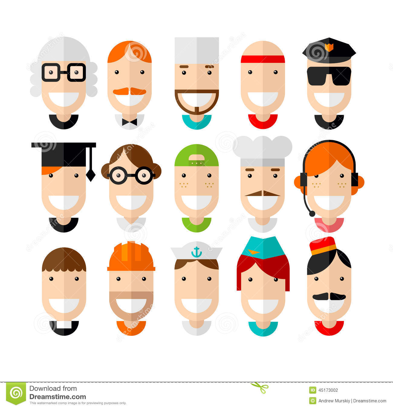Flat Design Character Download : Happy smiling professions character stock vector image