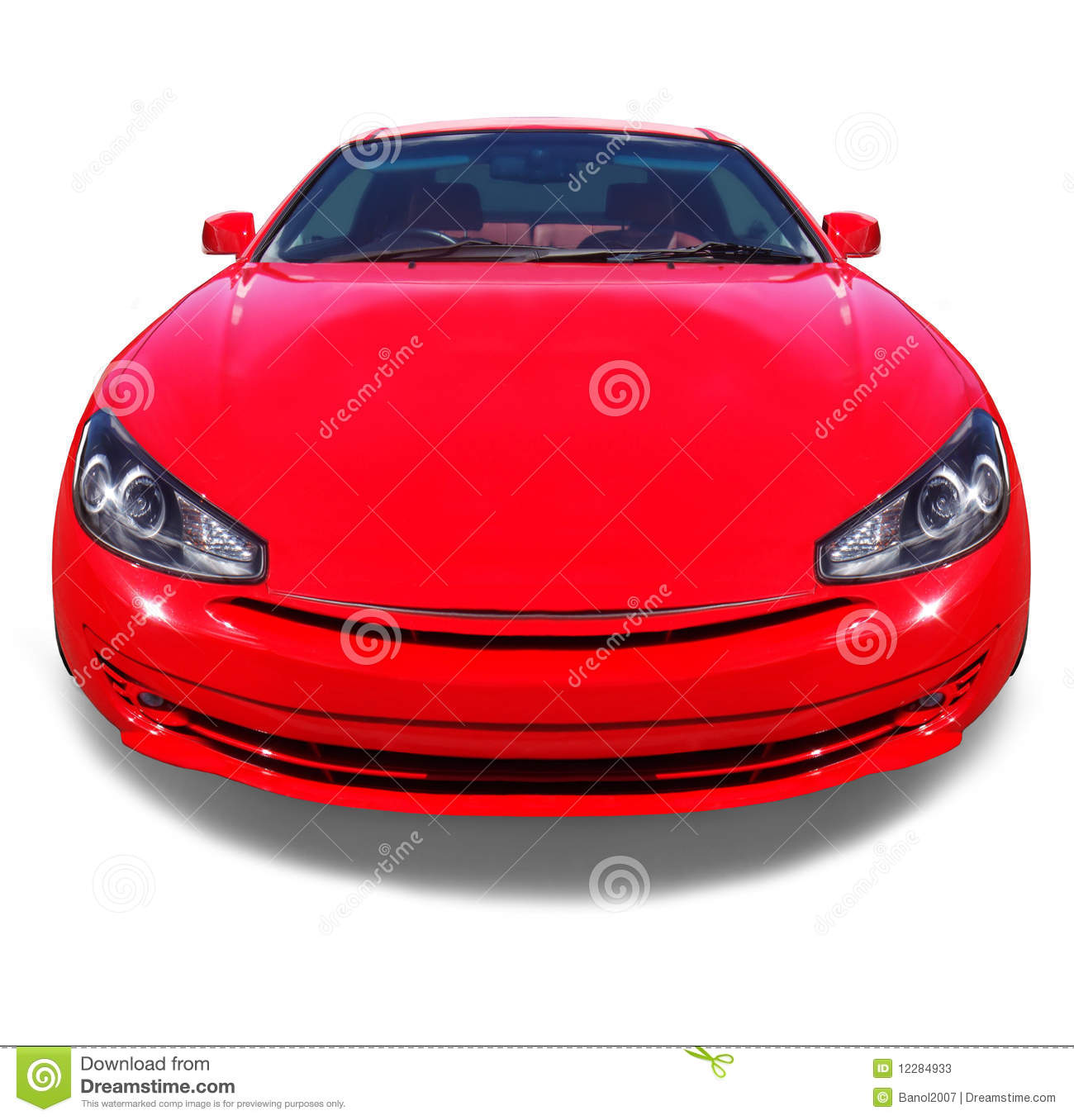 Happy Smiling Red Car. White Background. Stock Image ...