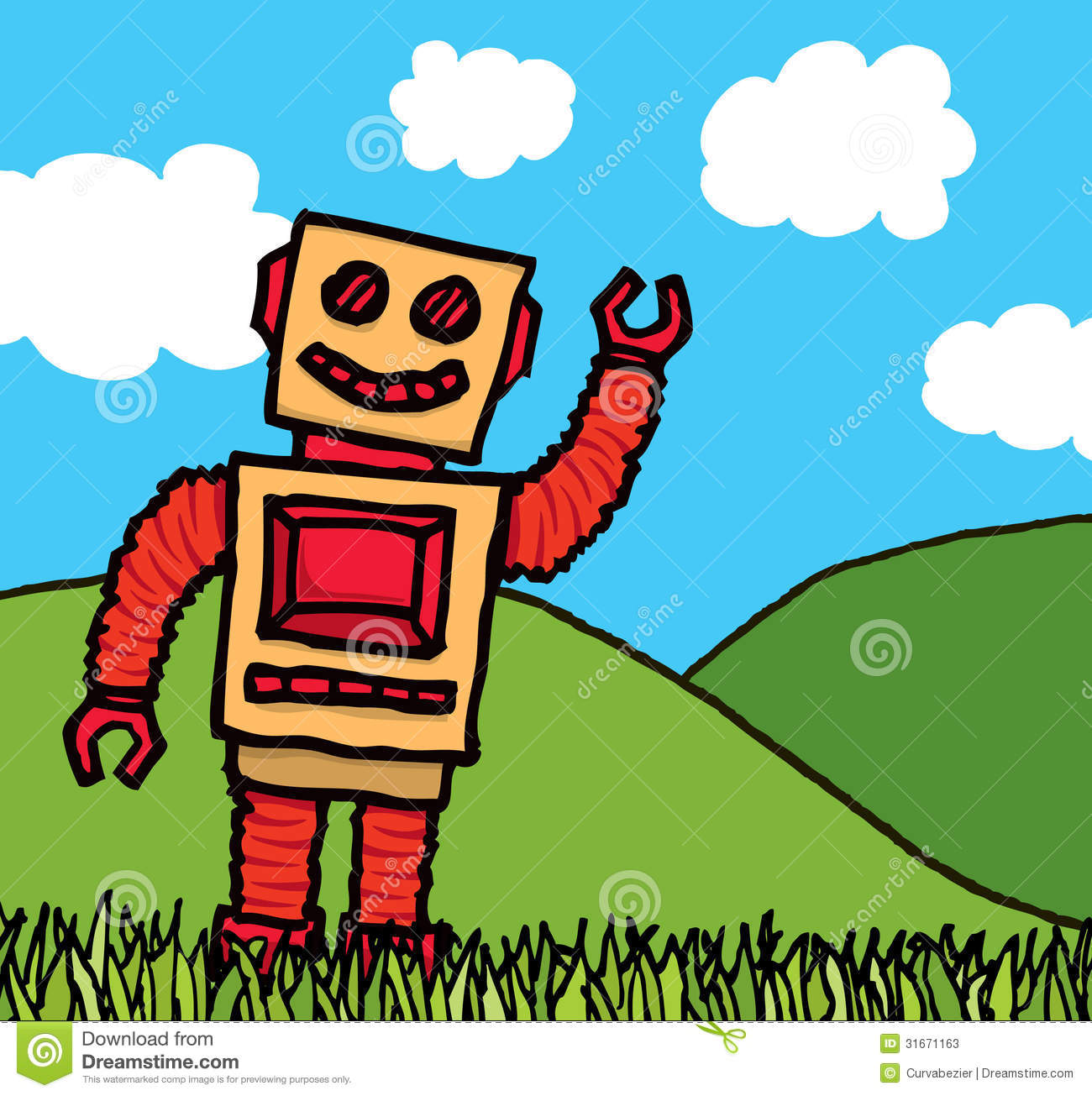 Smiling Robot coloring page | Free Printable Coloring Pages