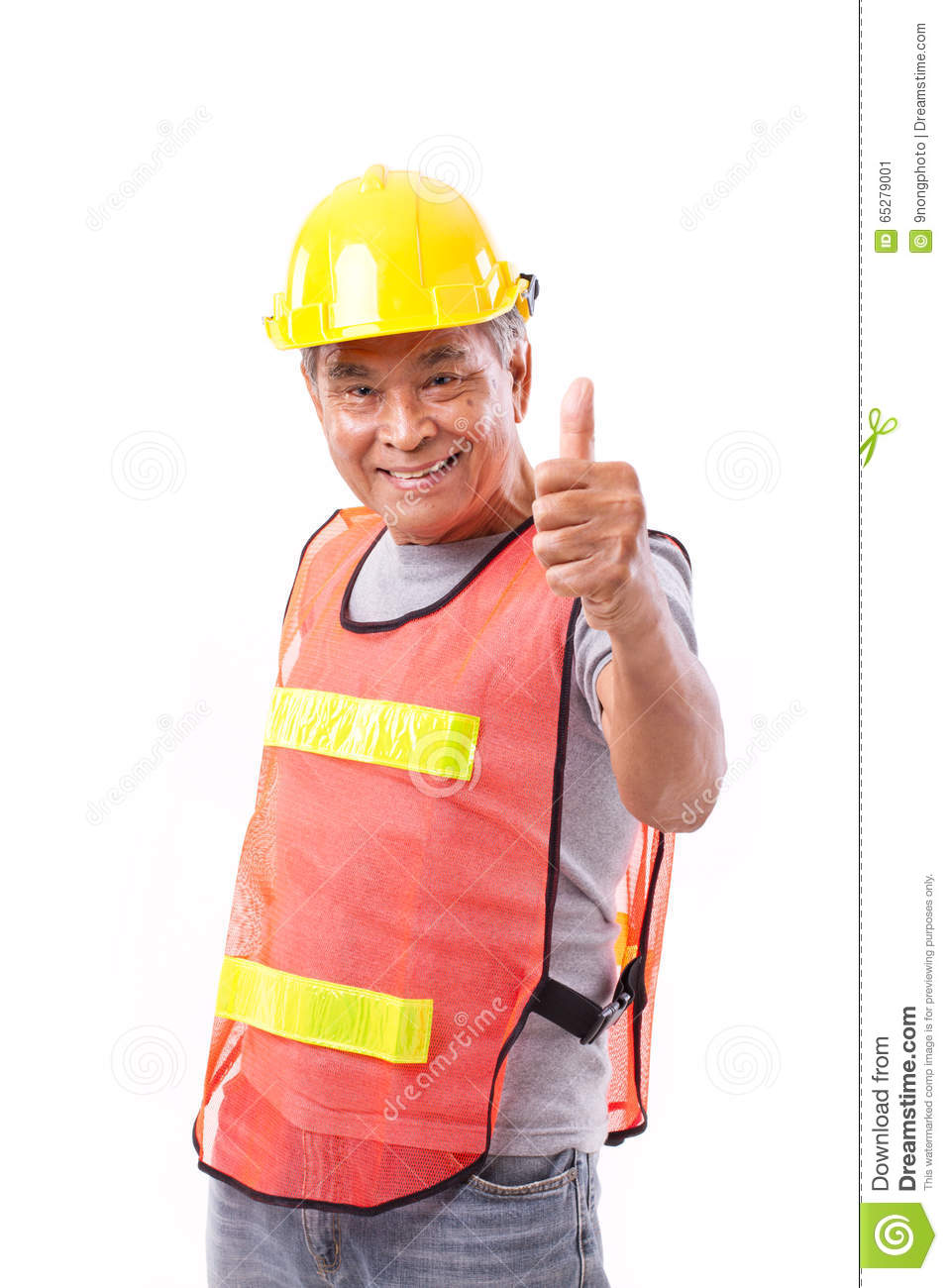 Happy, smiling senior construction worker giving thumb up