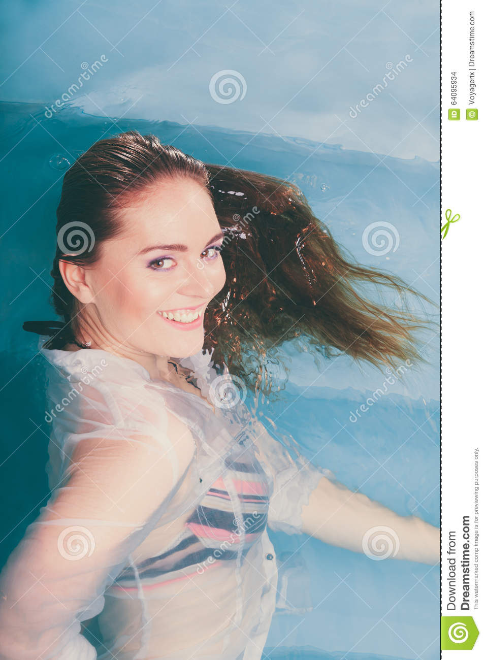 Happy smiling sexy seductive woman in water stock photo for Wearing t shirt in swimming pool