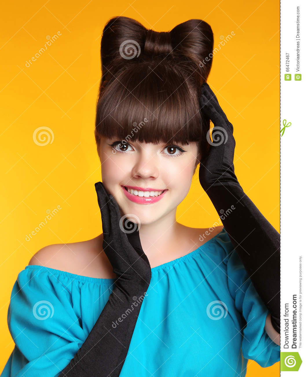 Happy Smiling Teen Girl With Bow Hairstyle, Beauty Young