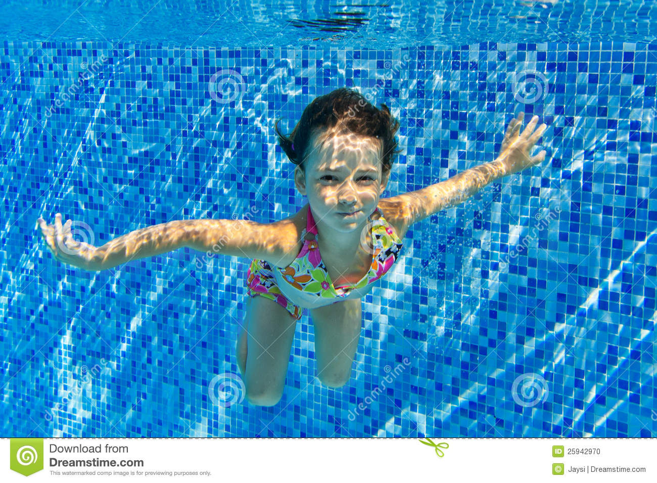 Happy Smiling Underwater Child In Swimming Pool Stock Photo Image 25942970