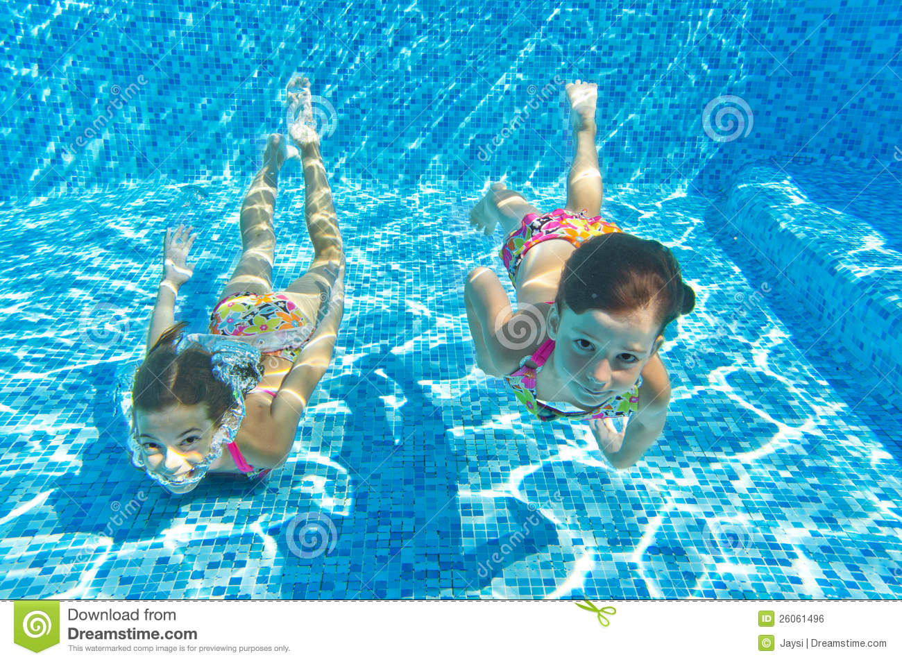 Happy Smiling Underwater Children In Swimming Pool Stock Photo Image Of Swimming Together