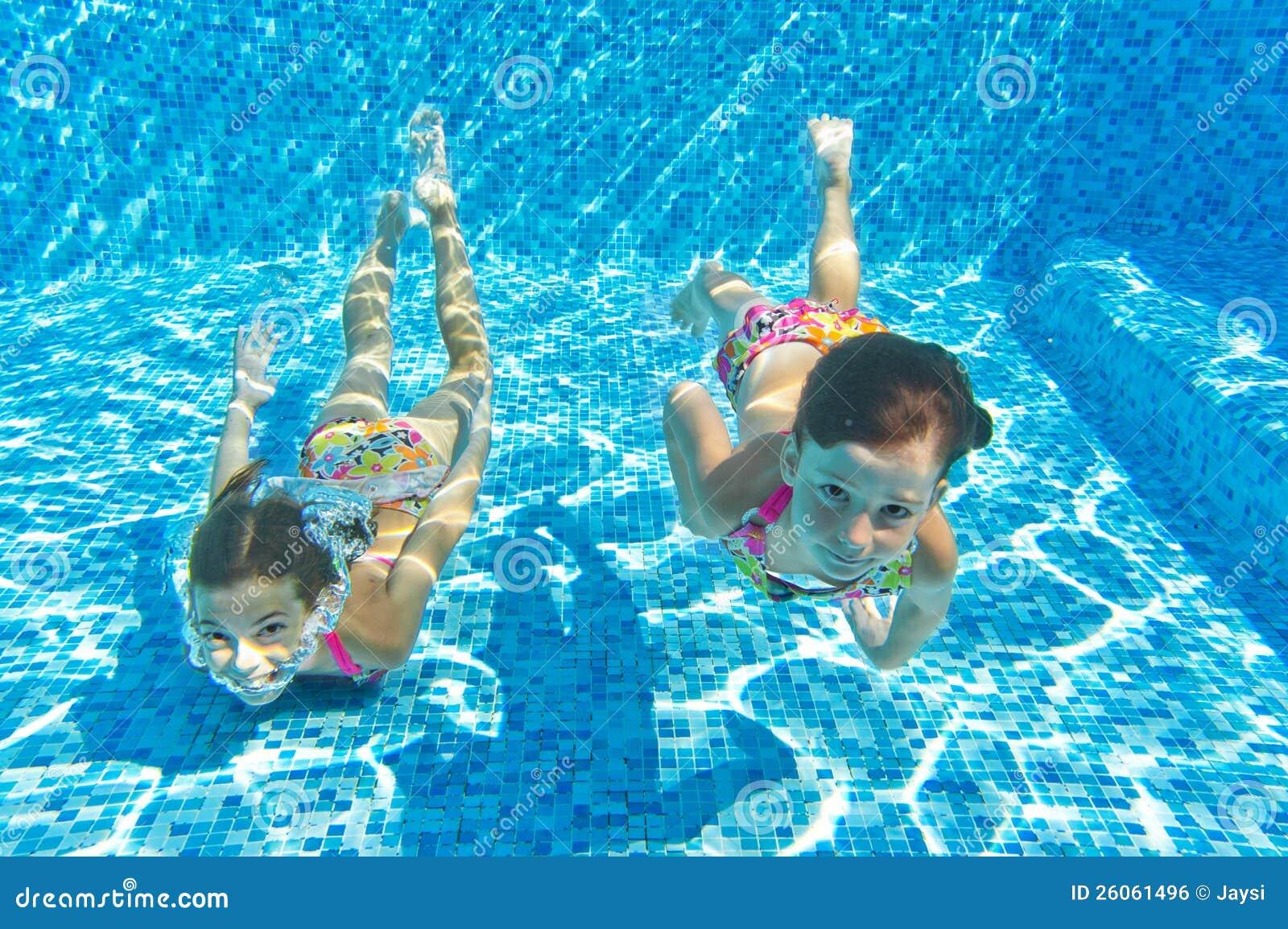 Kids swimming underwater pool children in swimming pool