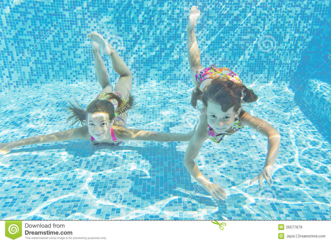 Happy Smiling Underwater Children In Swimming Pool Stock Image Image Of Summer Holiday 26577679