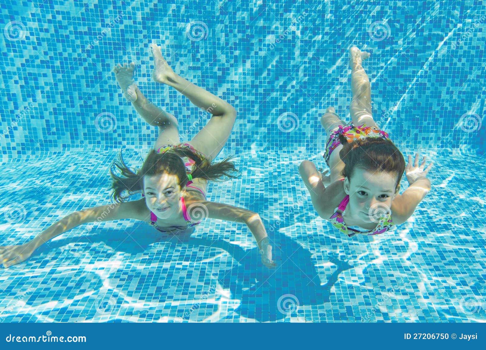Happy Smiling Underwater Children In Swimming Pool Stock Photo Image 27206750