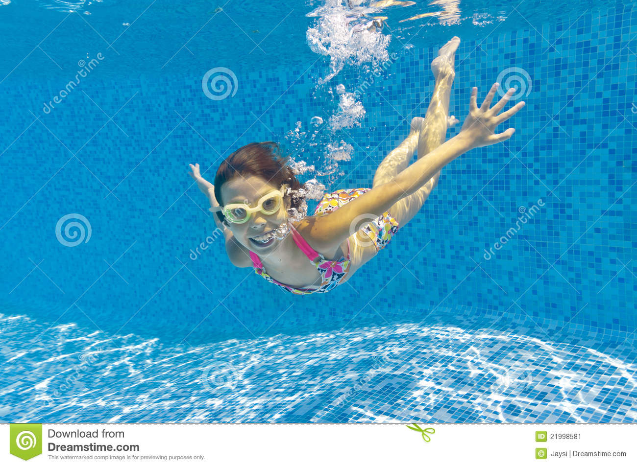 Kids Swimming Underwater happy smiling underwater kid swimming pool stock photos, images